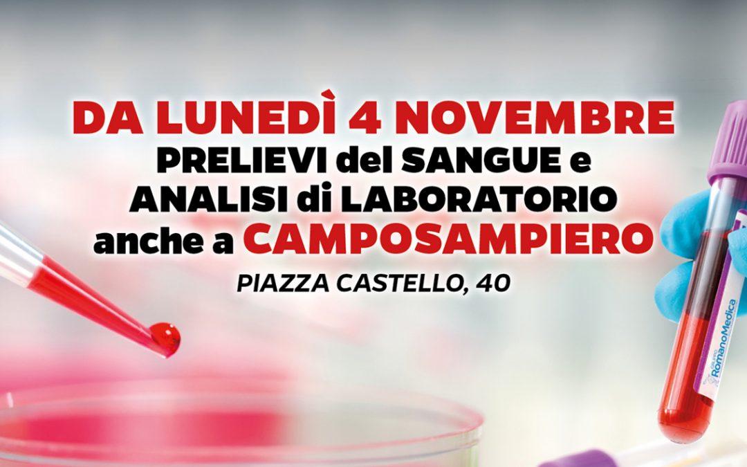 Da LUNEDÌ 4 NOVEMBRE 2019 Prelievi del sangue e Analisi di Laboratorio a Camposampiero (Padova)